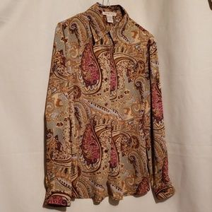 NOTATIONS Polyester Brown Paisley Blouse Sz M